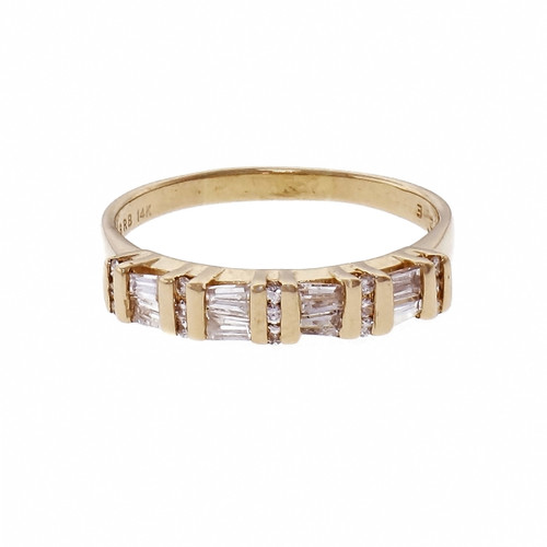 Diamond Wedding Band Channel Set In 14k Yellow Gold