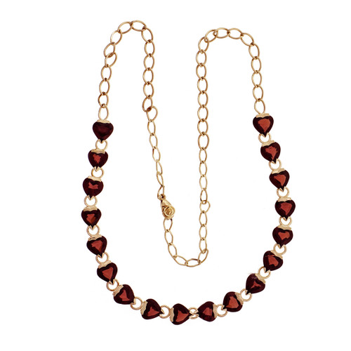 14k Yellow Gold Heart Shaped Garnet Necklace