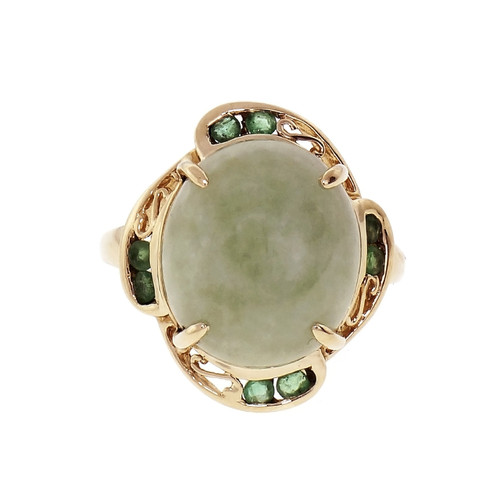 14k Yellow Gold Jadeite Jade & Emerald Ring