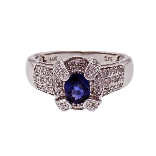 Sapphire & Diamond Ring 14k White Gold