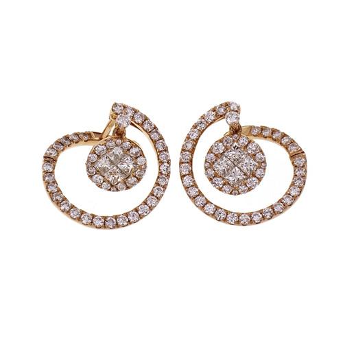 18k Rose Gold Circular Diamond Dangle Earrings