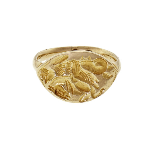 14k Yellow Gold Hand Carved Freeform Band