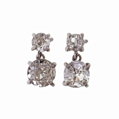 1.38ct Diamond Platinum Dangle Earrings