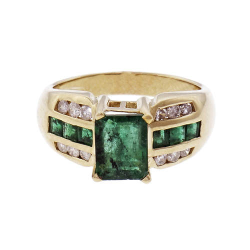 1.15cts Emerald Diamond 14k Yellow Gold Engagement Ring