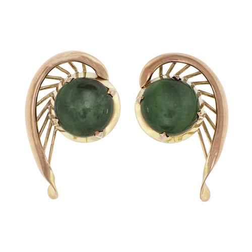 2.50ct Jadeite Jade Cabochon 14k Yellow Gold Earrings