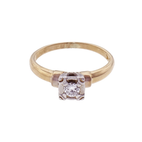 14k Diamond Yellow Gold Solitaire Engagement Ring