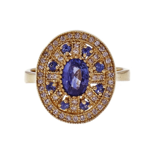 .95ct Sapphire Diamond 14k Yellow Gold Cluster Cocktail Ring