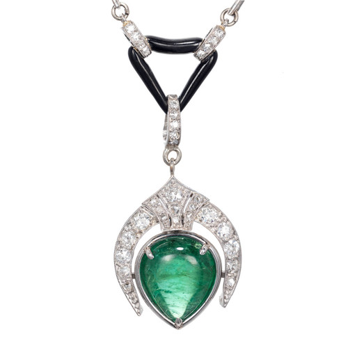 5.46ct Pear Emerald Diamond Pearl Onyx Pendant Necklace