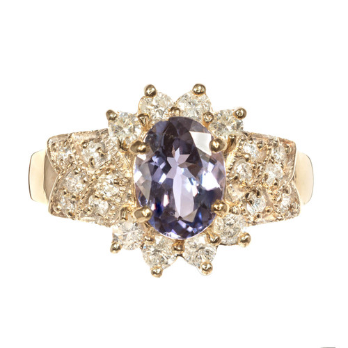 14k Yellow Gold Tanzanite & Diamond Ring