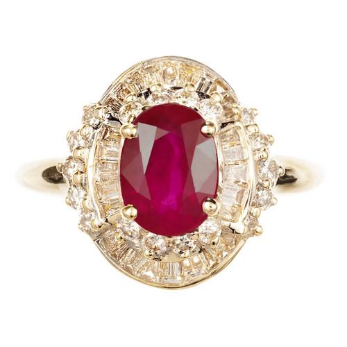 14k Yellow & White Gold Ruby & Diamond Ring