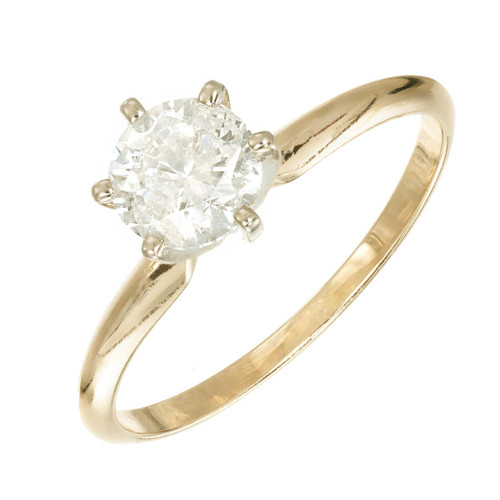 .90ct Round Diamond 14k Yellow Gold Solitaire Engagement Ring