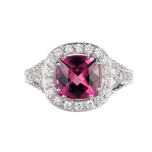 1.63ct Tourmaline Diamond Halo 18k White Gold Engagement Ring