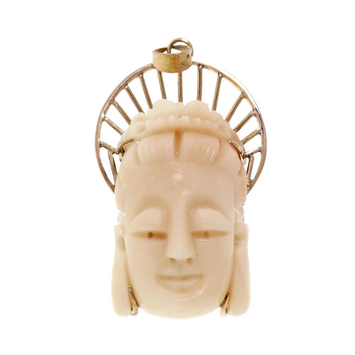 18k Yellow Gold Coral Carved Buddha Pendant
