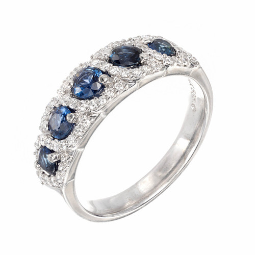 .78ct Sapphire Diamond Halo Swirl 14k White Gold Wedding Band Ring