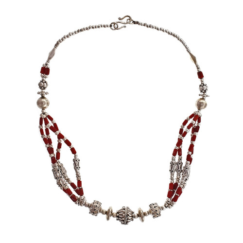 Silver & Coral Handmade Silver Necklace