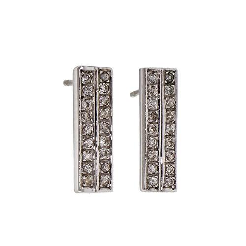 Diamond Bar Set 2 Row Earrings 14k White Gold