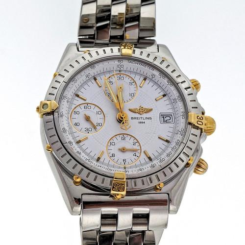 Breitling Chronomat B130501 18k Steel Automatic Watch Pilot Bracelet White Dial