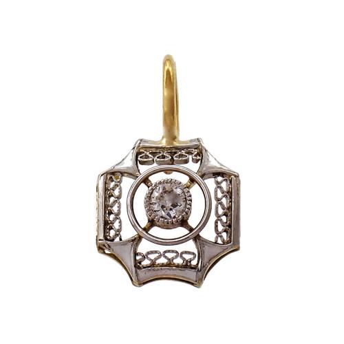 Platinum Filigree Top Pendant Old European Diamond  1900