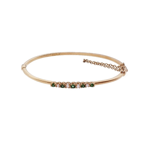 14k Yellow Gold Emerald & Diamond Bangle Bracelet