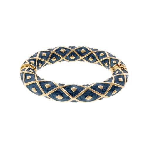 Blue Enamel Bangle Bracelet 14k Yellow Gold