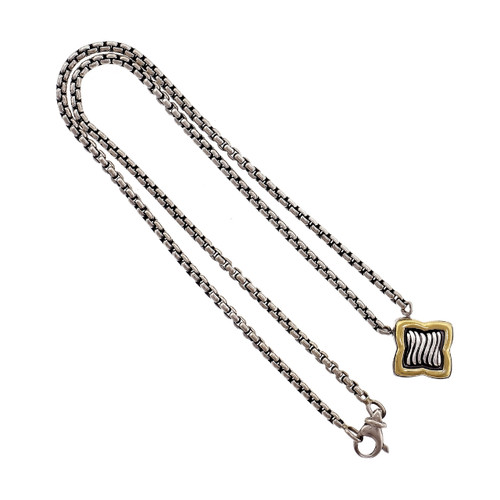 David Yurman Quatrefoil Necklace Silver 18k Yellow Gold