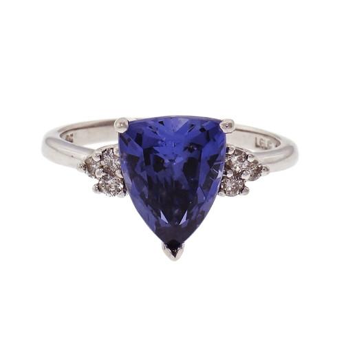 Tanzanite 2.40ct Triangle Cut Ring 10k White Gold Diamond