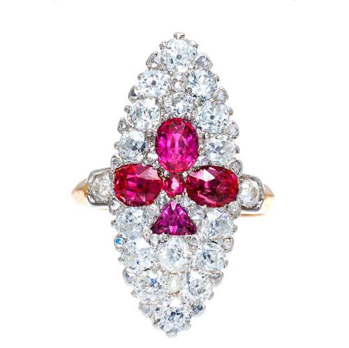 GIA 2.25 Carat Sapphire Diamond Fleur de Lis Gold Platinum Cocktail Ring