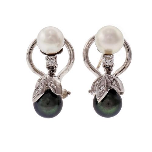 Pearl & Diamond Dangle Earrings