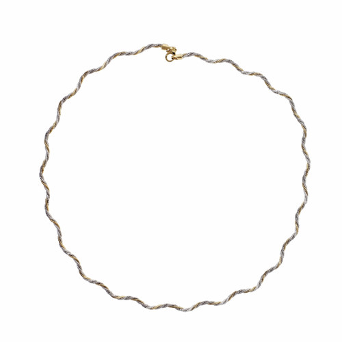 18k 2-Tone Twisted Curvy Necklace 18k Yellow Gold