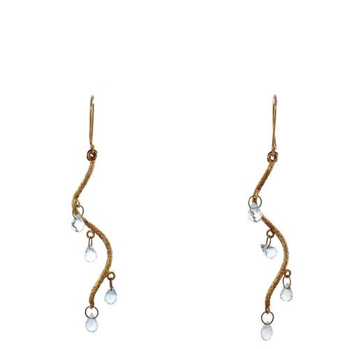 Blue Topaz Swirl Briolette Dangle Earrings 14k Yellow Gold