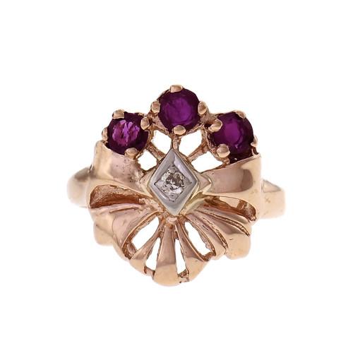Retro 1940 Ruby Diamond Ring 14k Pink Rose Gold