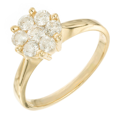 Diamond Engagement Ring 0.85ct Cluster 14k Yellow Gold