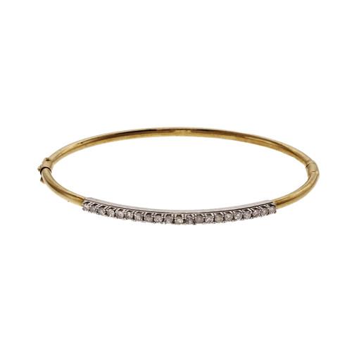 Hinged Diamond Bangle Bracelet 14k Gold
