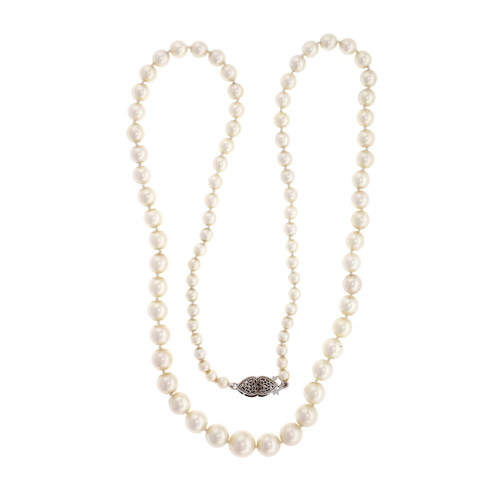 19 Inch Graduated Strand Cultured Pearl Necklace 14k White Gold Clasp