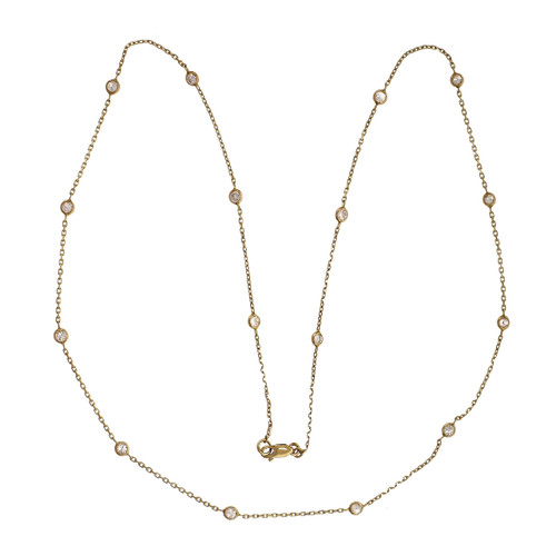 Diamond By The Yard Style Necklace 18 Inches 14k Yellow Gold