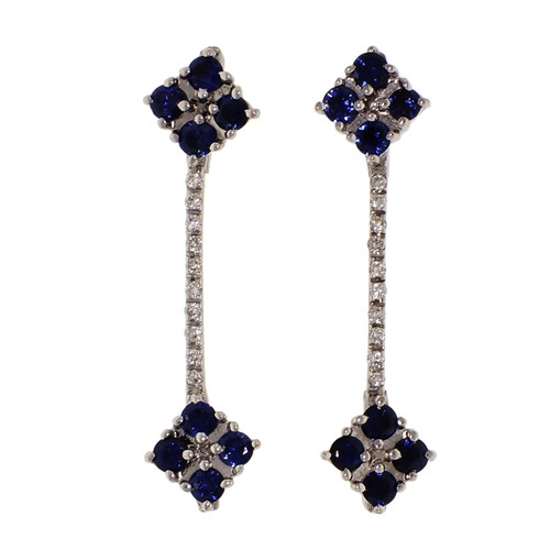 Sapphire Diamond Dangle Earrings 14k White Gold
