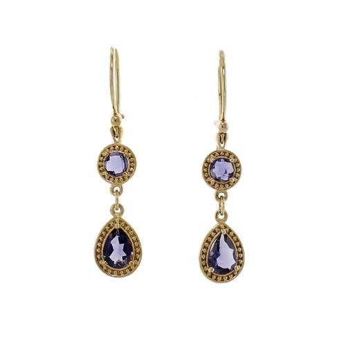 Tanzanite Dangle Earrings 14k Yellow Gold Pear & Round