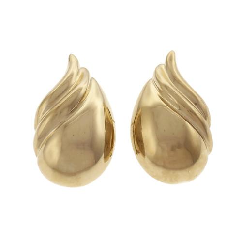 Tiffany & Co Earrings ©1970 18k Yellow Gold Clip Post Flame Swirl Design