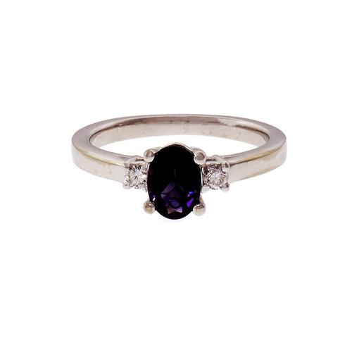 Peter Suchy Oval Fine Amethyst Diamond Ring 14k Gold