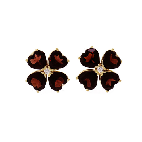 Garnet Clover Earrings Heart Shaped Stones 14k Yellow Gold
