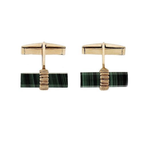 Larter Natural Malachite Cufflinks 14k Yellow Gold