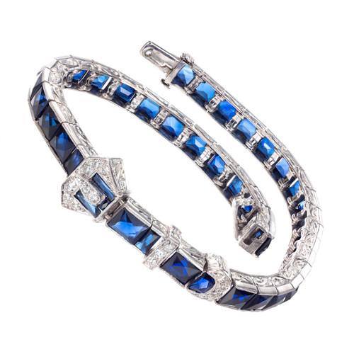 Platinum, Synthetic Sapphire and Genuine Diamond Bracelet.