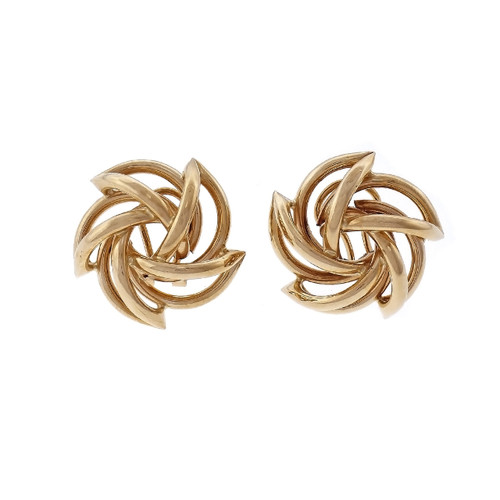 14K Yellow Gold Pinwheel Design Earrings.