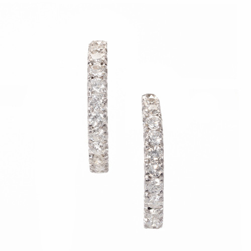 1.68 Carat Diamond Half Hoop White Gold Dangle Earrings