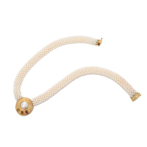 Amethyst Citrine Peridot Multi Strand Pearl Gold Necklace