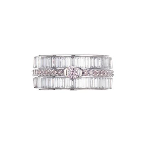 1.56 Carat Pink White Diamond White Gold Band Cocktail Ring