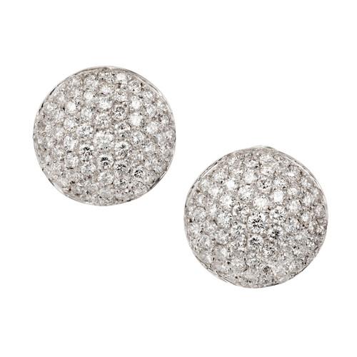 18k White Gold Diamond Cluster Earrings