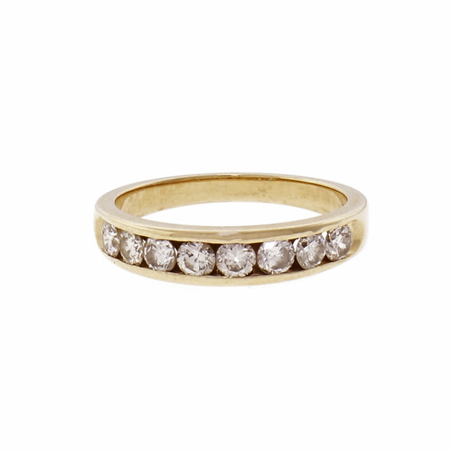 14k Yellow Gold Diamond Channel Set Half Band