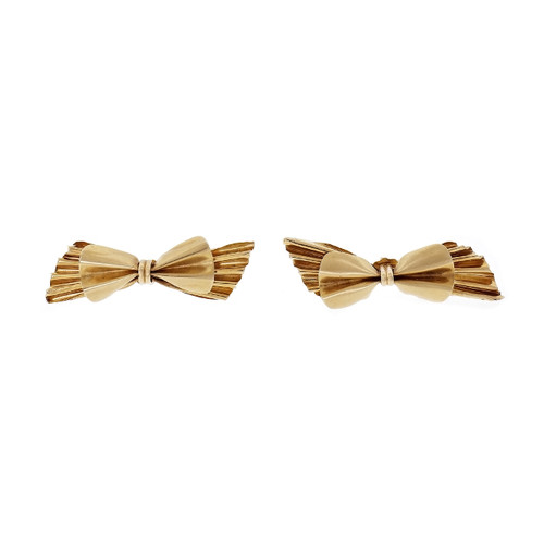 Vintage 14k Yellow Gold Bow Earrings