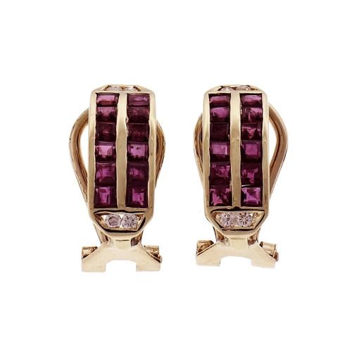 Estate Ruby Diamond Hoop Earrings 14k Yellow Gold